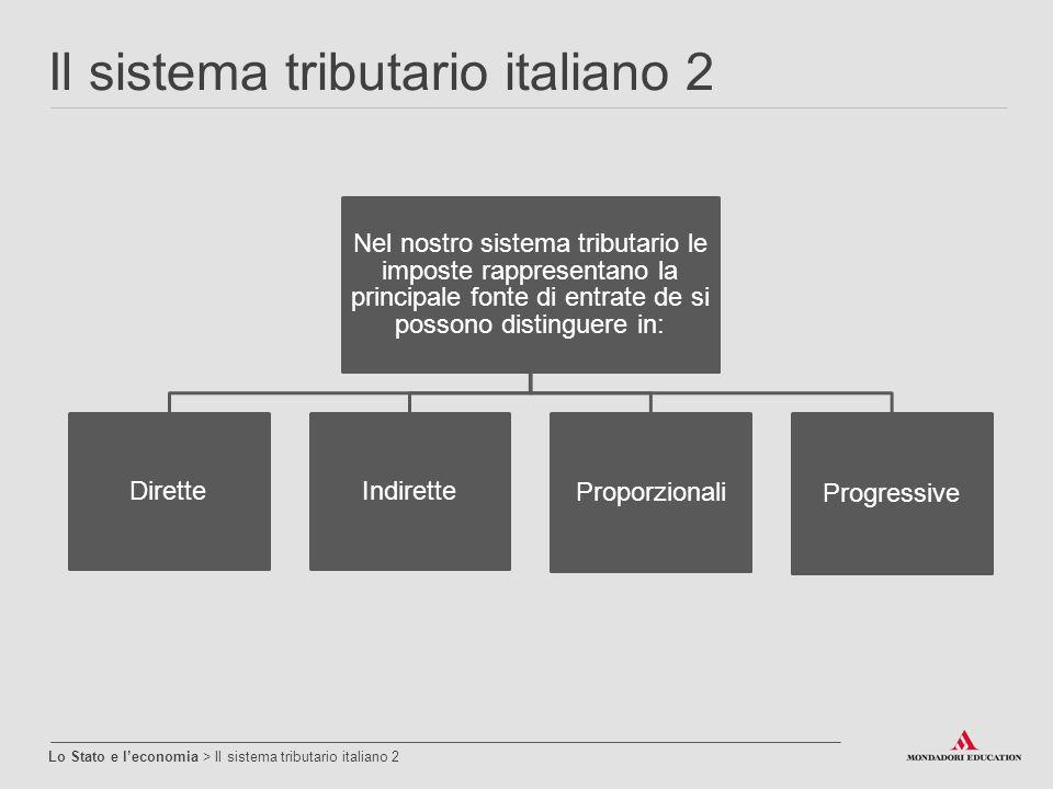 Il sistema tributario italiano 2 Lo Stato e l'economia > Il sistema tributario italiano 2 Nel nostro sistema tributario le imposte rappresentano la pr