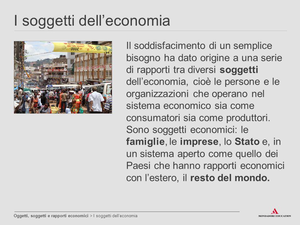 I soggetti dell'economia Oggetti, soggetti e rapporti economici > I soggetti dell'economia Il soddisfacimento di un semplice bisogno ha dato origine a