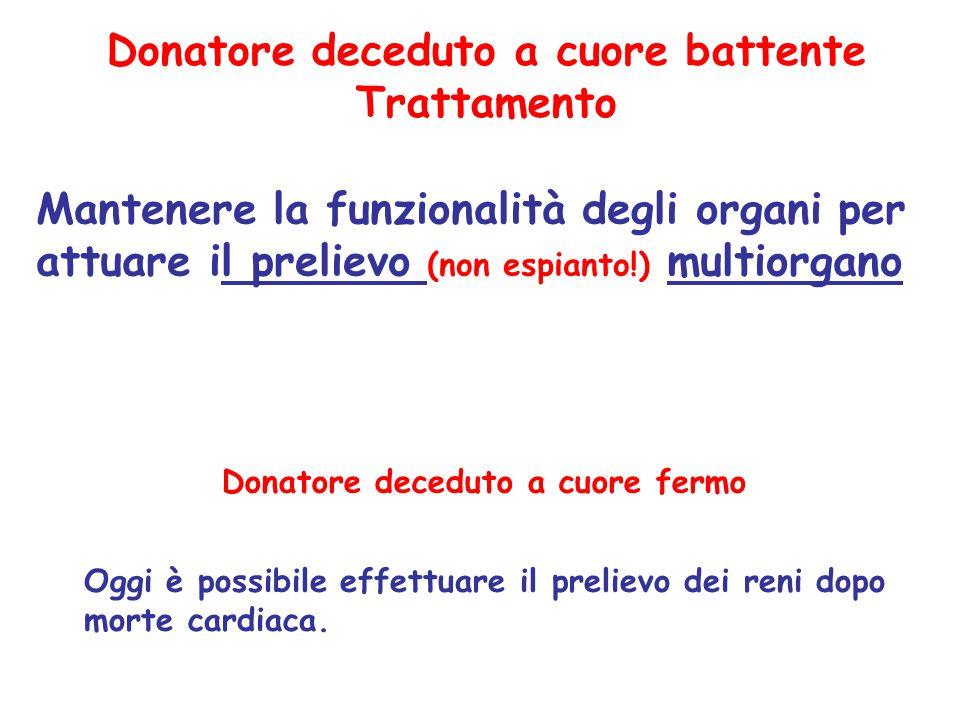 Donatore deceduto a cuore battente Trattamento Mantenere la funzionalità degli organi per attuare il prelievo (non espianto!) multiorgano Oggi è possi