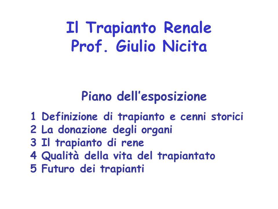 1 Definizione di trapianto e cenni storici 2 La donazione degli organi 3 Il trapianto di rene 4 Qualità della vita del trapiantato 5 Futuro dei trapia