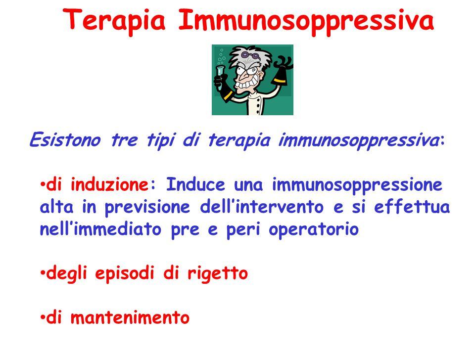Terapia Immunosoppressiva Esistono tre tipi di terapia immunosoppressiva: di induzione: Induce una immunosoppressione alta in previsione dell'interven