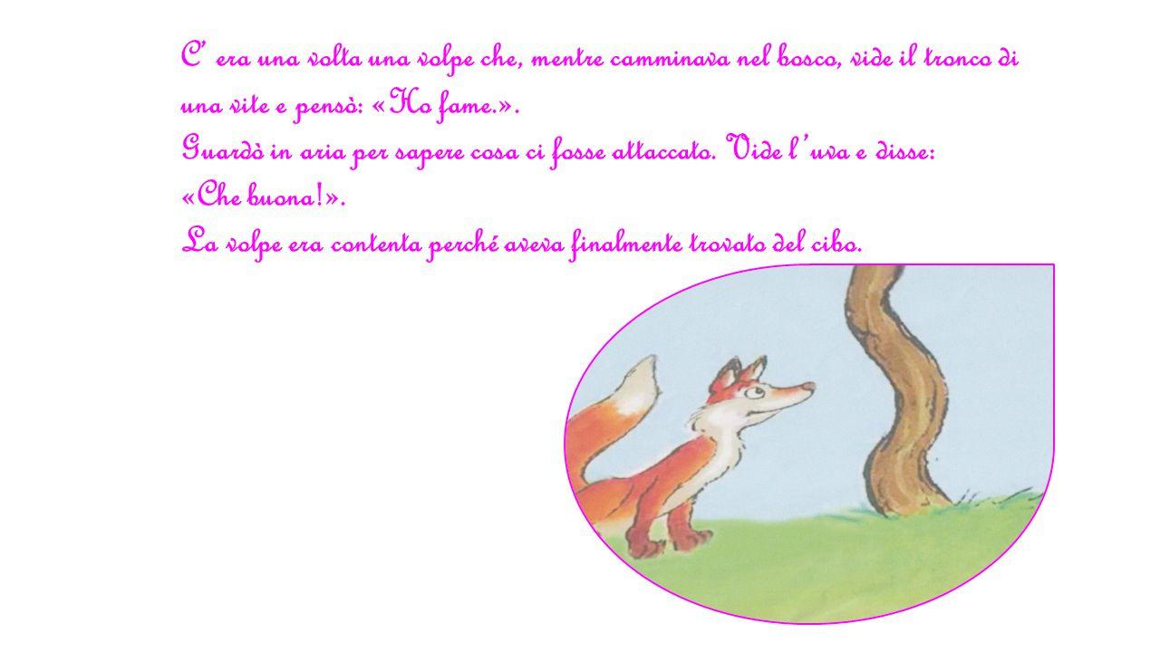 C' era una volta una volpe che, mentre camminava nel bosco, vide il tronco di una vite e pensò: «Ho fame.». Guardò in aria per sapere cosa ci fosse at