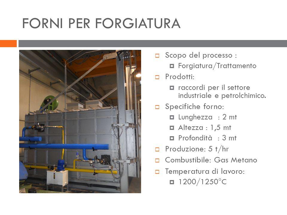FORNI PER FORGIATURA  Scopo del processo :  Forgiatura/Trattamento  Prodotti:  raccordi per il settore industriale e petrolchimico.  Specifiche f