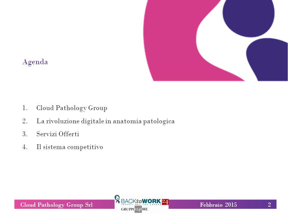 2Cloud Pathology Group SrlFebbraio 2015 Agenda 1.Cloud Pathology Group 2.La rivoluzione digitale in anatomia patologica 3.Servizi Offerti 4.Il sistema