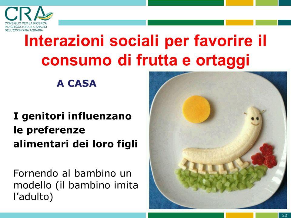 23 Interazioni sociali per favorire il consumo di frutta e ortaggi A CASA I genitori influenzano le preferenze alimentari dei loro figli Fornendo al b