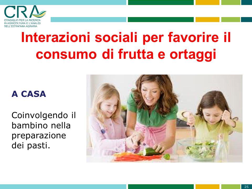25 Interazioni sociali per favorire il consumo di frutta e ortaggi A CASA Coinvolgendo il bambino nella preparazione dei pasti.