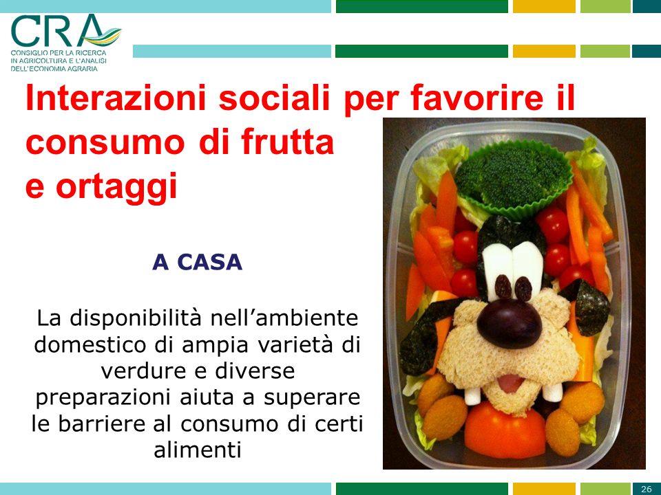 26 Interazioni sociali per favorire il consumo di frutta e ortaggi A CASA La disponibilità nell'ambiente domestico di ampia varietà di verdure e diver