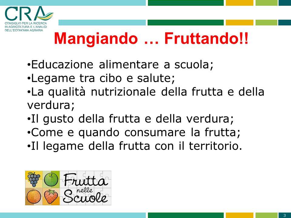 3 Mangiando … Fruttando!! Educazione alimentare a scuola; Legame tra cibo e salute; La qualità nutrizionale della frutta e della verdura; Il gusto del