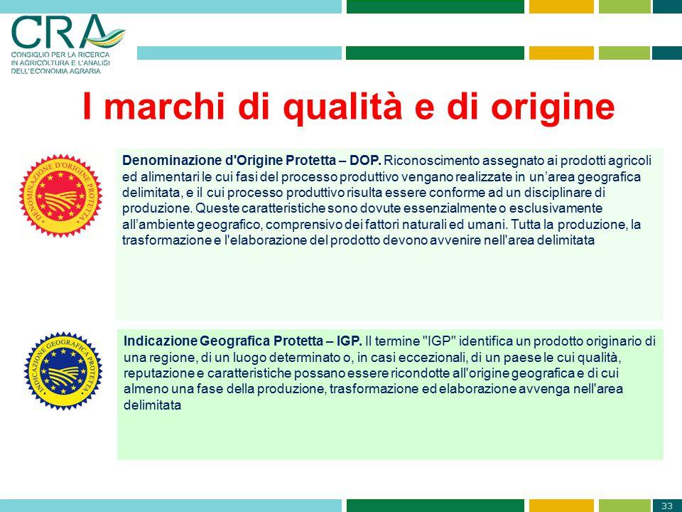 33 I marchi di qualità e di origine Denominazione d'Origine Protetta – DOP. Riconoscimento assegnato ai prodotti agricoli ed alimentari le cui fasi de