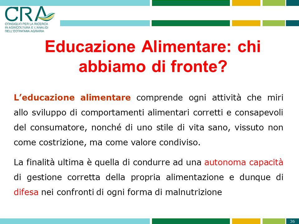 36 Educazione Alimentare: chi abbiamo di fronte? L'educazione alimentare comprende ogni attività che miri allo sviluppo di comportamenti alimentari co
