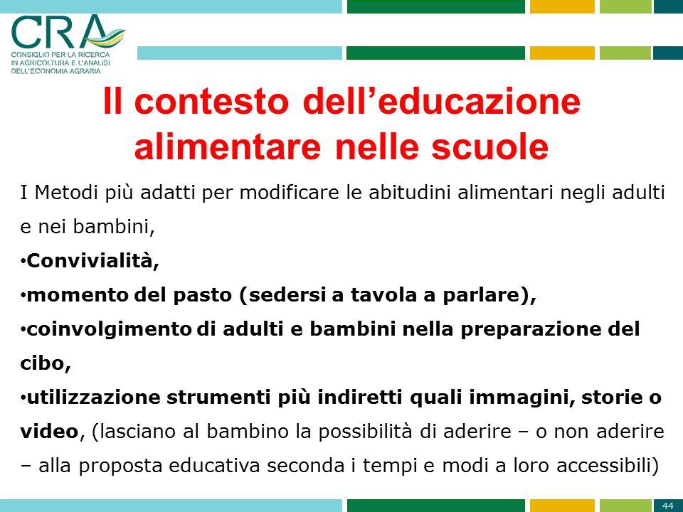 44 Il contesto dell'educazione alimentare nelle scuole I Metodi più adatti per modificare le abitudini alimentari negli adulti e nei bambini, Convivia