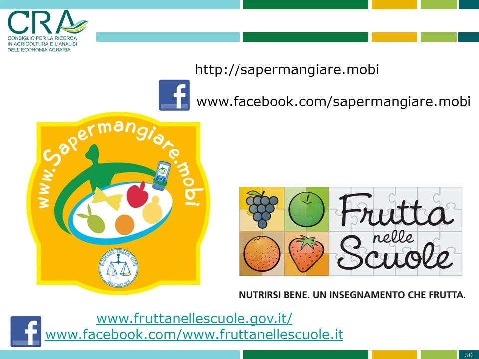 50 http://sapermangiare.mobi www.facebook.com/sapermangiare.mobi www.fruttanellescuole.gov.it/ www.facebook.com/www.fruttanellescuole.it