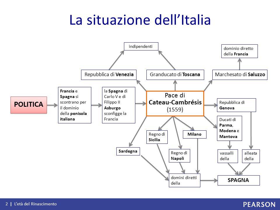 La situazione dell'Italia 2 | L'età del Rinascimento Francia e Spagna si scontrano per il dominio della penisola italiana la Spagna di Carlo V e di Fi