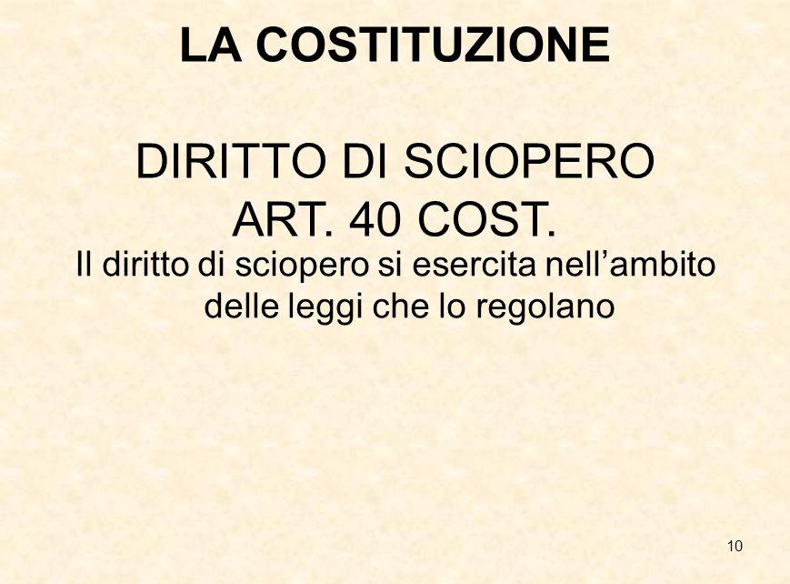 10 LA COSTITUZIONE DIRITTO DI SCIOPERO ART. 40 COST. Il diritto di sciopero si esercita nell'ambito delle leggi che lo regolano