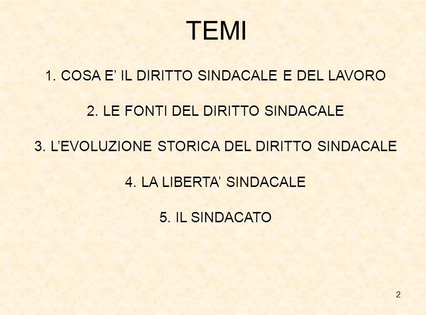 2 TEMI 1. COSA E' IL DIRITTO SINDACALE E DEL LAVORO 2. LE FONTI DEL DIRITTO SINDACALE 3. L'EVOLUZIONE STORICA DEL DIRITTO SINDACALE 4. LA LIBERTA' SIN