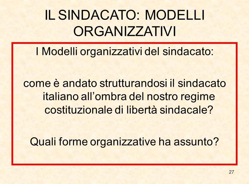 27 IL SINDACATO: MODELLI ORGANIZZATIVI I Modelli organizzativi del sindacato: come è andato strutturandosi il sindacato italiano all'ombra del nostro