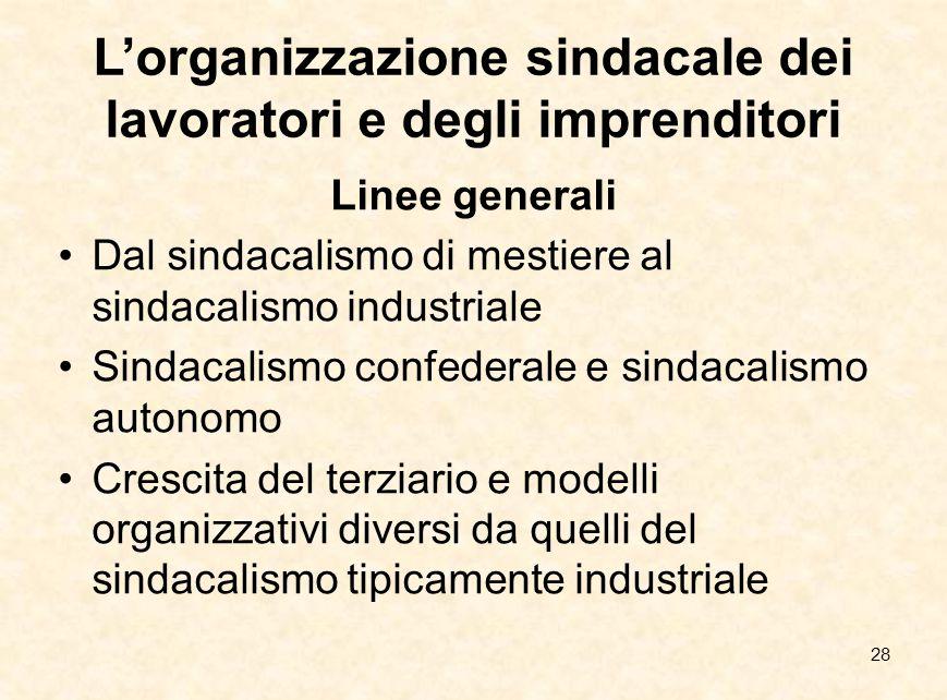 28 L'organizzazione sindacale dei lavoratori e degli imprenditori Linee generali Dal sindacalismo di mestiere al sindacalismo industriale Sindacalismo