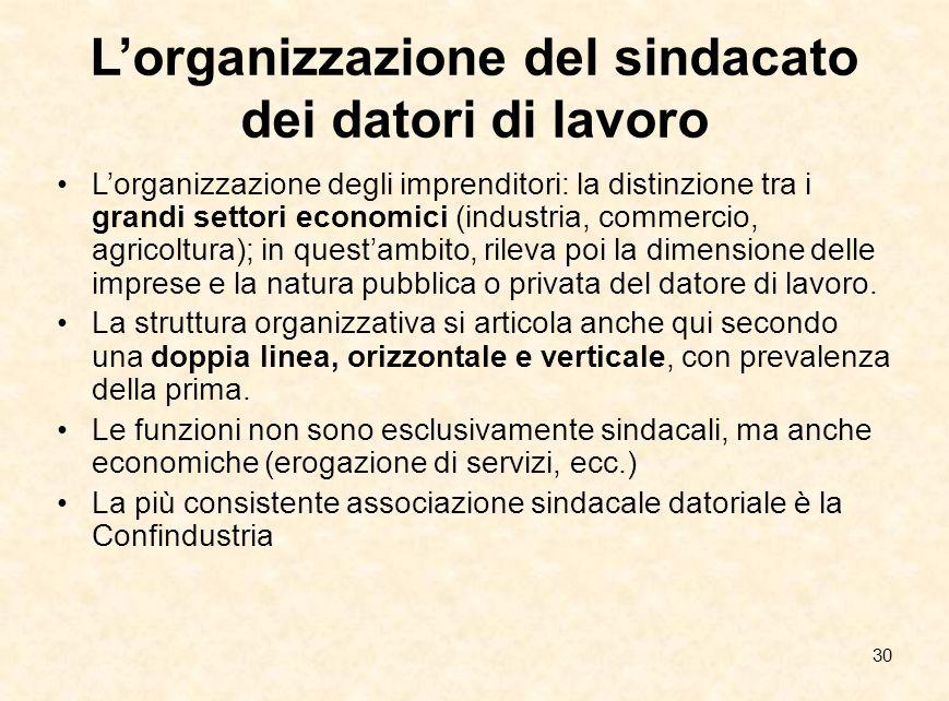 30 L'organizzazione del sindacato dei datori di lavoro L'organizzazione degli imprenditori: la distinzione tra i grandi settori economici (industria,