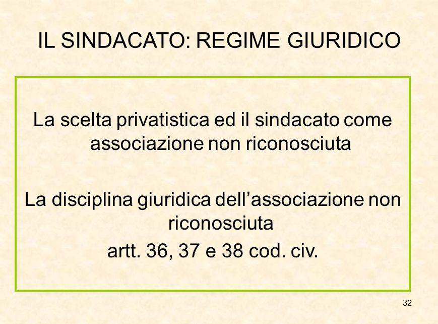 32 IL SINDACATO: REGIME GIURIDICO La scelta privatistica ed il sindacato come associazione non riconosciuta La disciplina giuridica dell'associazione