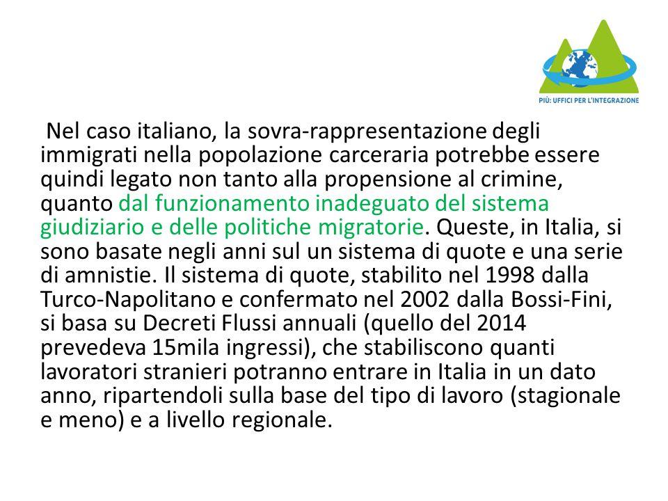 Nel caso italiano, la sovra-rappresentazione degli immigrati nella popolazione carceraria potrebbe essere quindi legato non tanto alla propensione al crimine, quanto dal funzionamento inadeguato del sistema giudiziario e delle politiche migratorie.