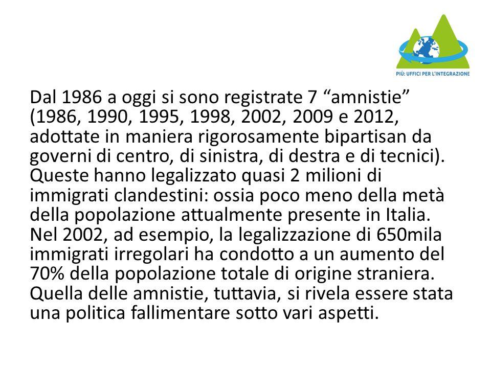 Dal 1986 a oggi si sono registrate 7 amnistie (1986, 1990, 1995, 1998, 2002, 2009 e 2012, adottate in maniera rigorosamente bipartisan da governi di centro, di sinistra, di destra e di tecnici).