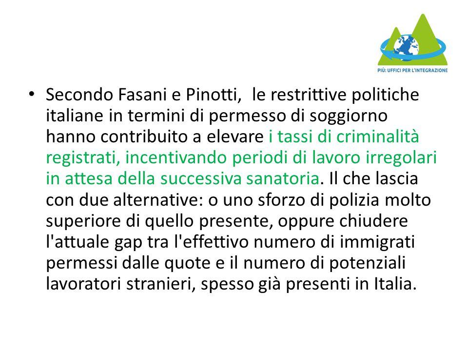Secondo Fasani e Pinotti, le restrittive politiche italiane in termini di permesso di soggiorno hanno contribuito a elevare i tassi di criminalità registrati, incentivando periodi di lavoro irregolari in attesa della successiva sanatoria.