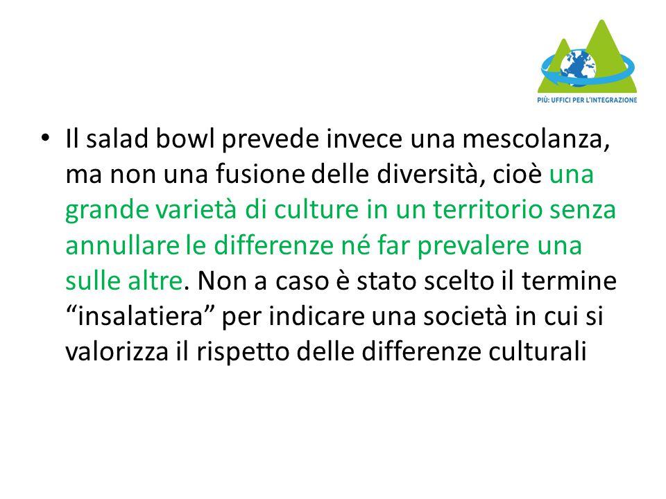 Il salad bowl prevede invece una mescolanza, ma non una fusione delle diversità, cioè una grande varietà di culture in un territorio senza annullare le differenze né far prevalere una sulle altre.