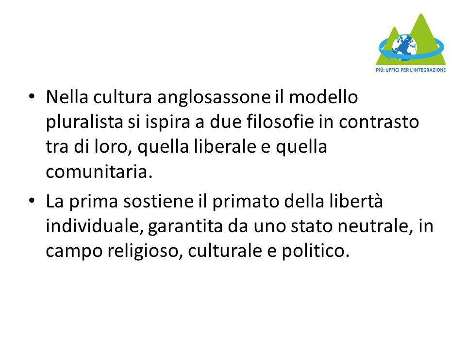 Nella cultura anglosassone il modello pluralista si ispira a due filosofie in contrasto tra di loro, quella liberale e quella comunitaria.