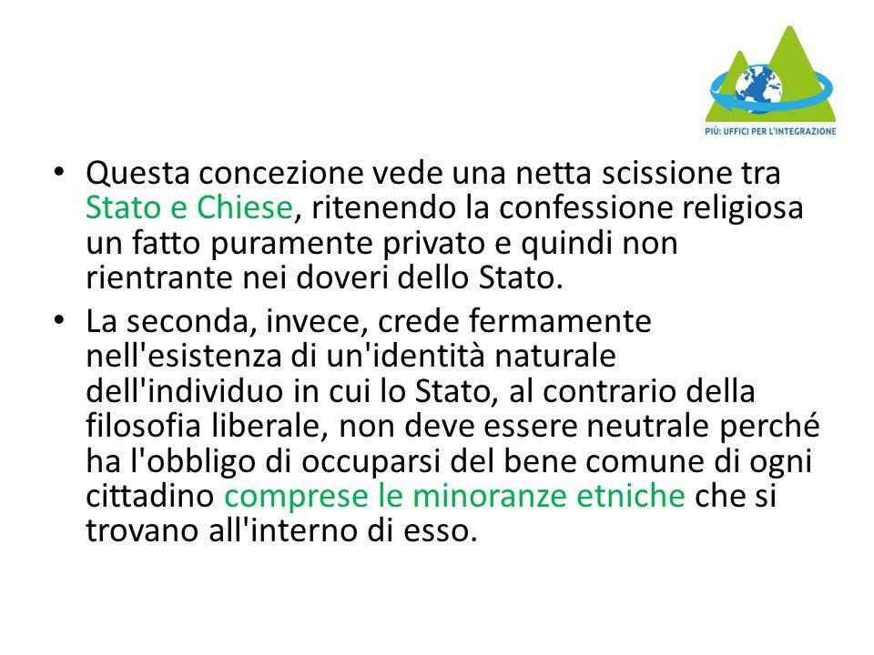 Questa concezione vede una netta scissione tra Stato e Chiese, ritenendo la confessione religiosa un fatto puramente privato e quindi non rientrante nei doveri dello Stato.