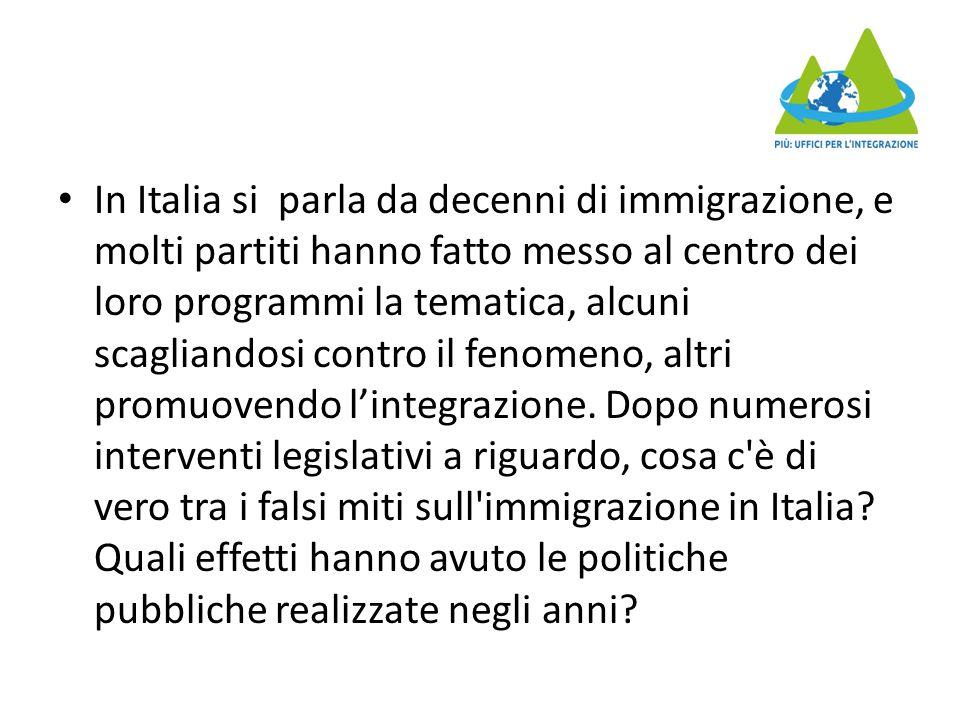 In Italia si parla da decenni di immigrazione, e molti partiti hanno fatto messo al centro dei loro programmi la tematica, alcuni scagliandosi contro il fenomeno, altri promuovendo l'integrazione.