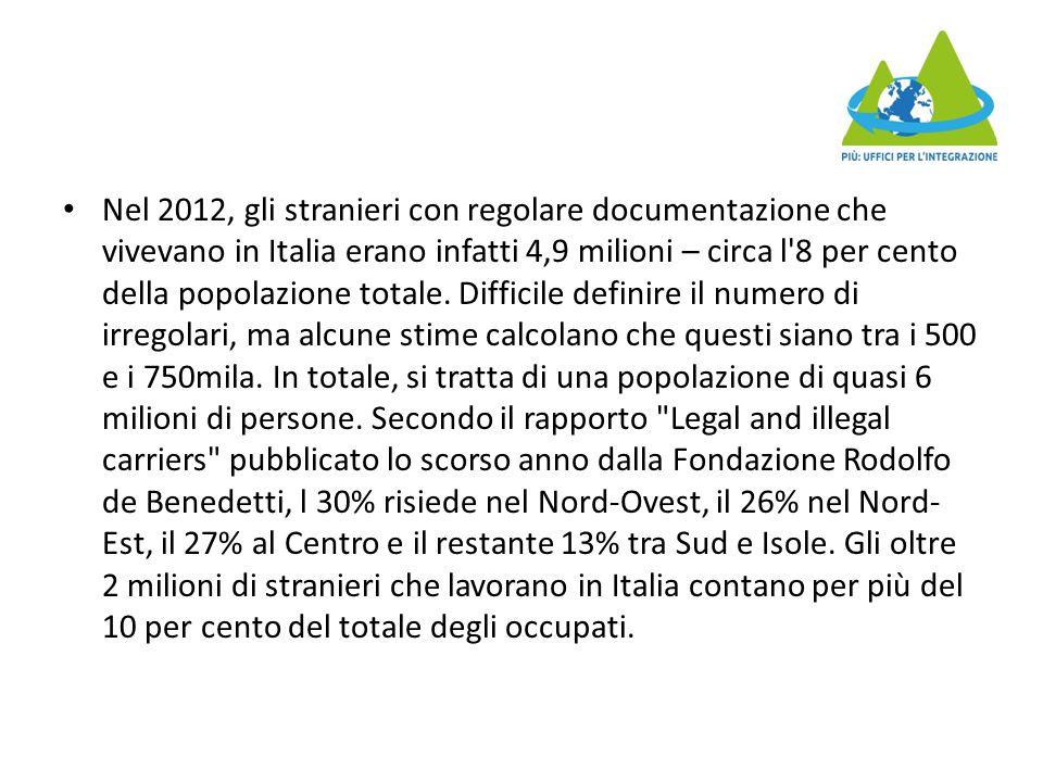 Nel 2012, gli stranieri con regolare documentazione che vivevano in Italia erano infatti 4,9 milioni – circa l 8 per cento della popolazione totale.