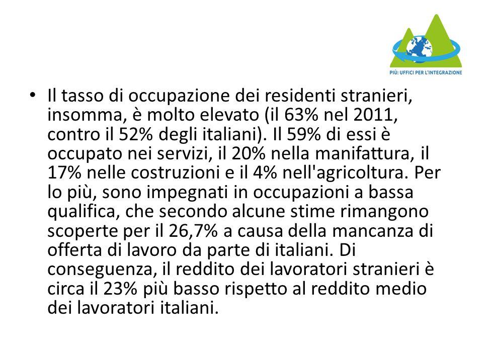 Il tasso di occupazione dei residenti stranieri, insomma, è molto elevato (il 63% nel 2011, contro il 52% degli italiani).