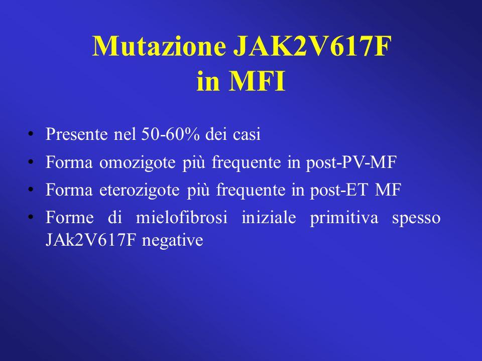 Mutazione JAK2V617F in MFI Presente nel 50-60% dei casi Forma omozigote più frequente in post-PV-MF Forma eterozigote più frequente in post-ET MF Form