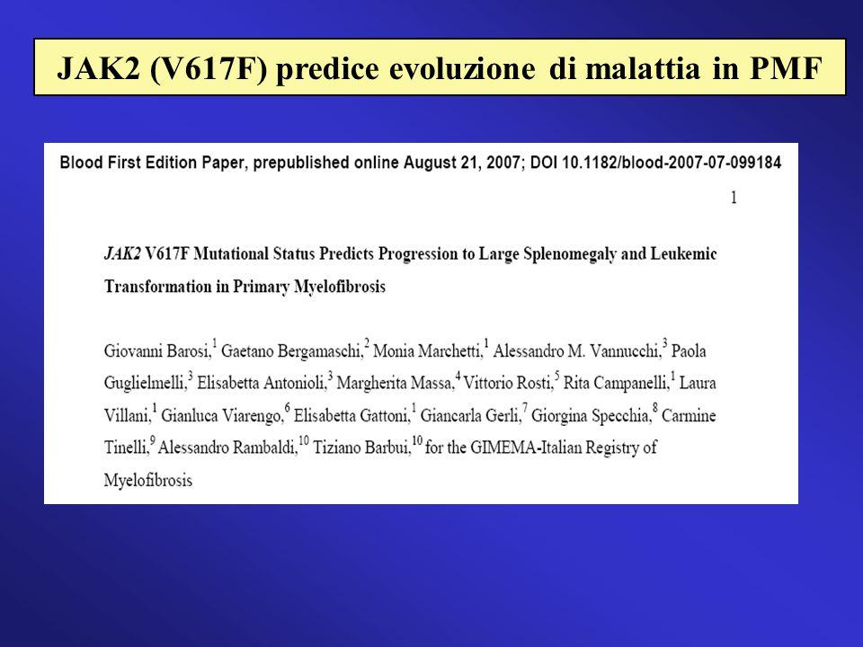 JAK2 (V617F) predice evoluzione di malattia in PMF