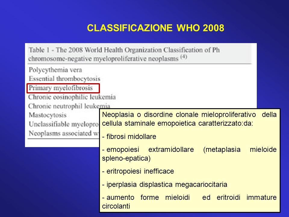 CARATTERISTICHE MIELOFIBROSI IDIOPATICA Tefferi, NEJM, 2000 Precursori mieloidi- eritroidi dacriociti Megacariocit i atipici e in clusters densi Fibrosi reticolinica Osteosclerosi Emopoiesi intrasinusale