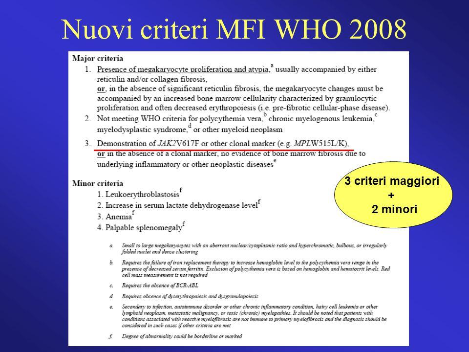 Nuovi criteri MFI WHO 2008 3 criteri maggiori + 2 minori