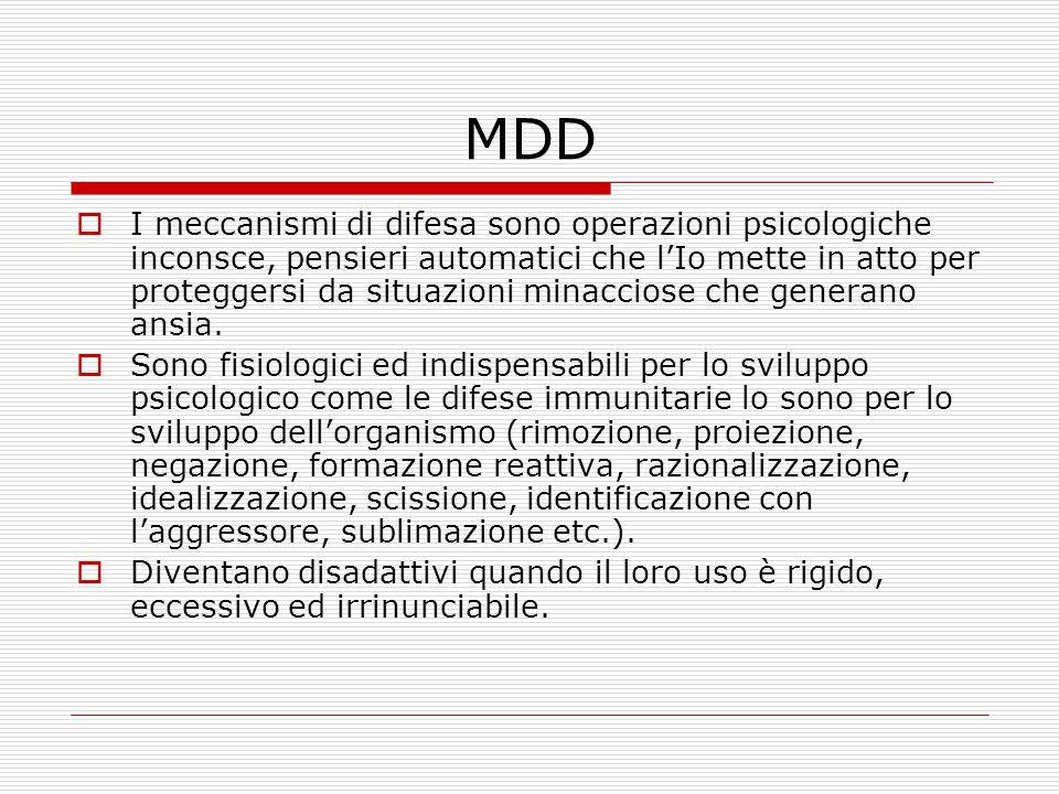 MDD  I meccanismi di difesa sono operazioni psicologiche inconsce, pensieri automatici che l'Io mette in atto per proteggersi da situazioni minacciose che generano ansia.