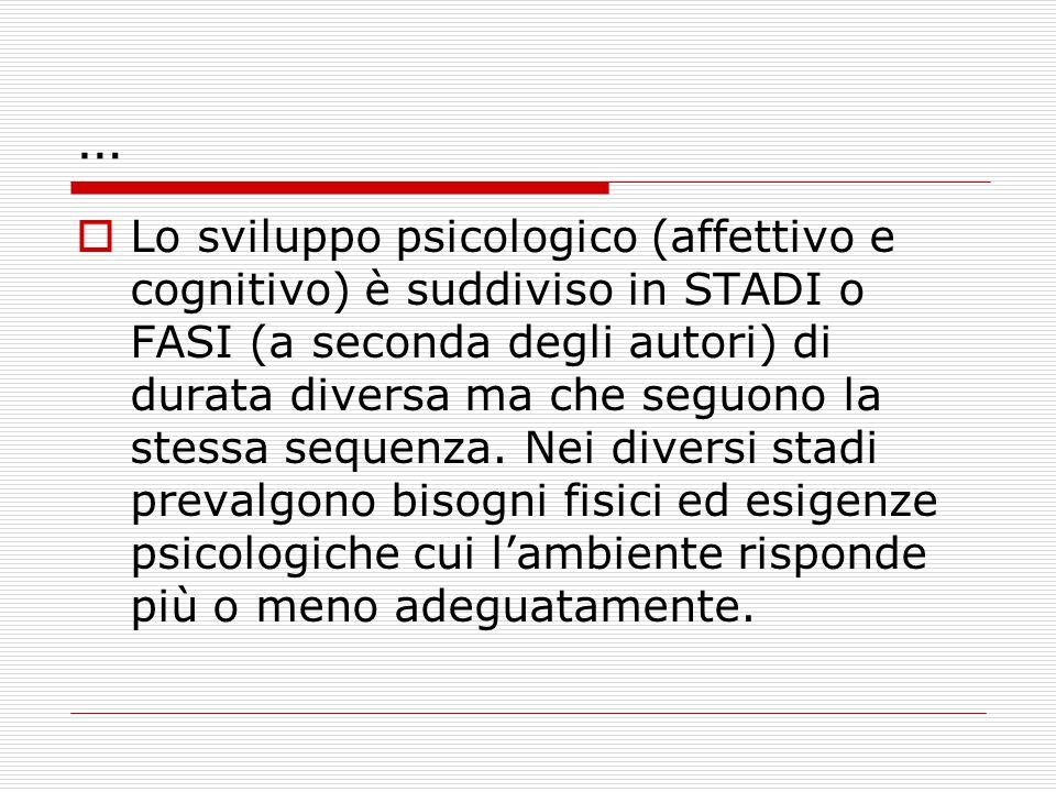 …  Lo sviluppo psicologico (affettivo e cognitivo) è suddiviso in STADI o FASI (a seconda degli autori) di durata diversa ma che seguono la stessa sequenza.