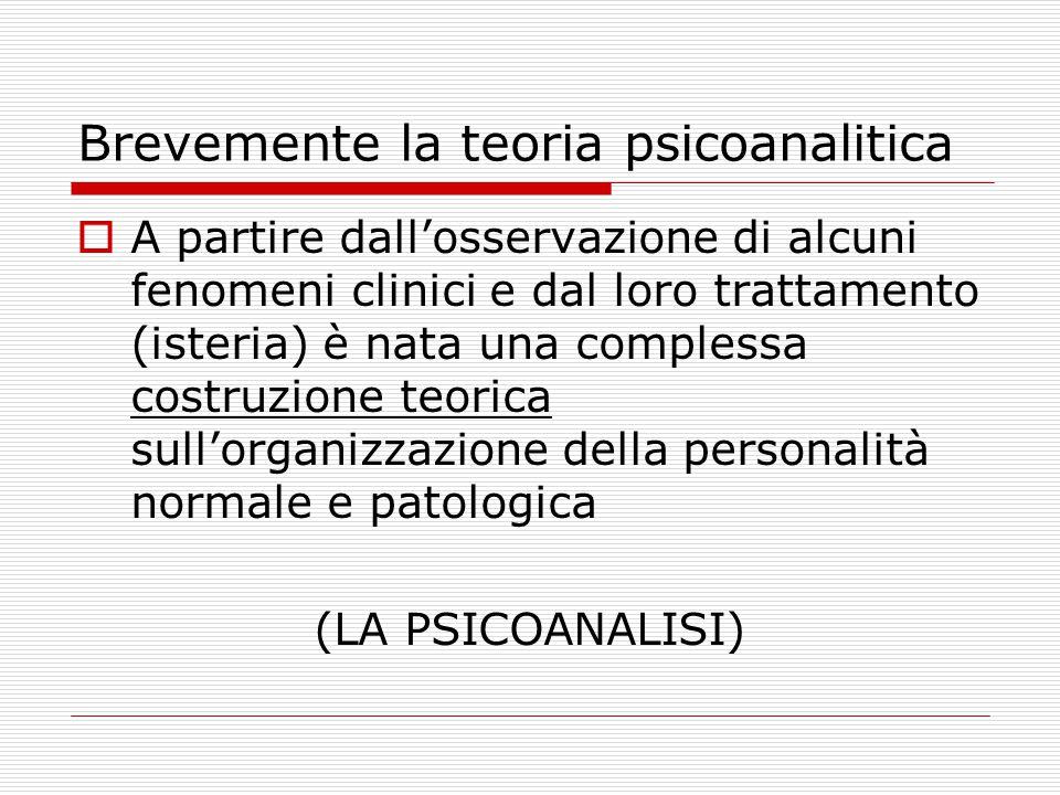 Brevemente la teoria psicoanalitica  A partire dall'osservazione di alcuni fenomeni clinici e dal loro trattamento (isteria) è nata una complessa cos