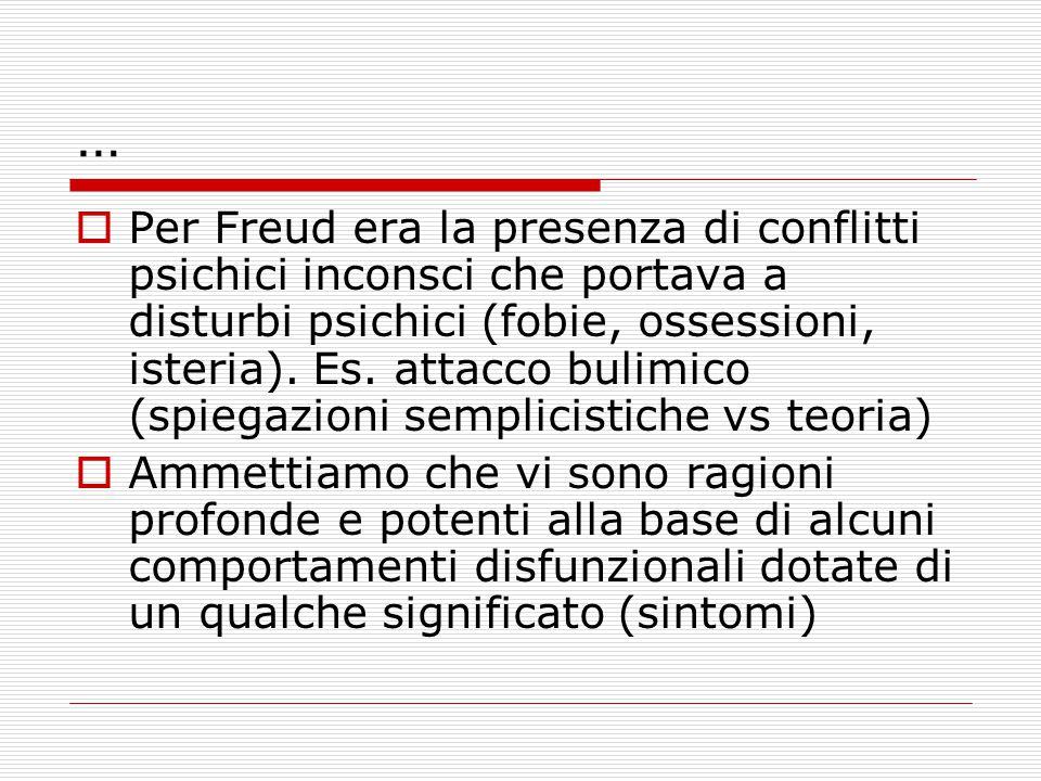…  Per Freud era la presenza di conflitti psichici inconsci che portava a disturbi psichici (fobie, ossessioni, isteria). Es. attacco bulimico (spieg