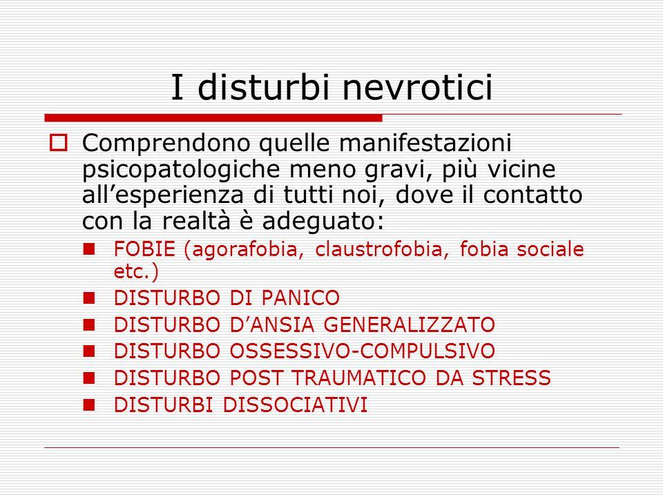 I disturbi nevrotici  Comprendono quelle manifestazioni psicopatologiche meno gravi, più vicine all'esperienza di tutti noi, dove il contatto con la realtà è adeguato: FOBIE (agorafobia, claustrofobia, fobia sociale etc.) DISTURBO DI PANICO DISTURBO D'ANSIA GENERALIZZATO DISTURBO OSSESSIVO-COMPULSIVO DISTURBO POST TRAUMATICO DA STRESS DISTURBI DISSOCIATIVI