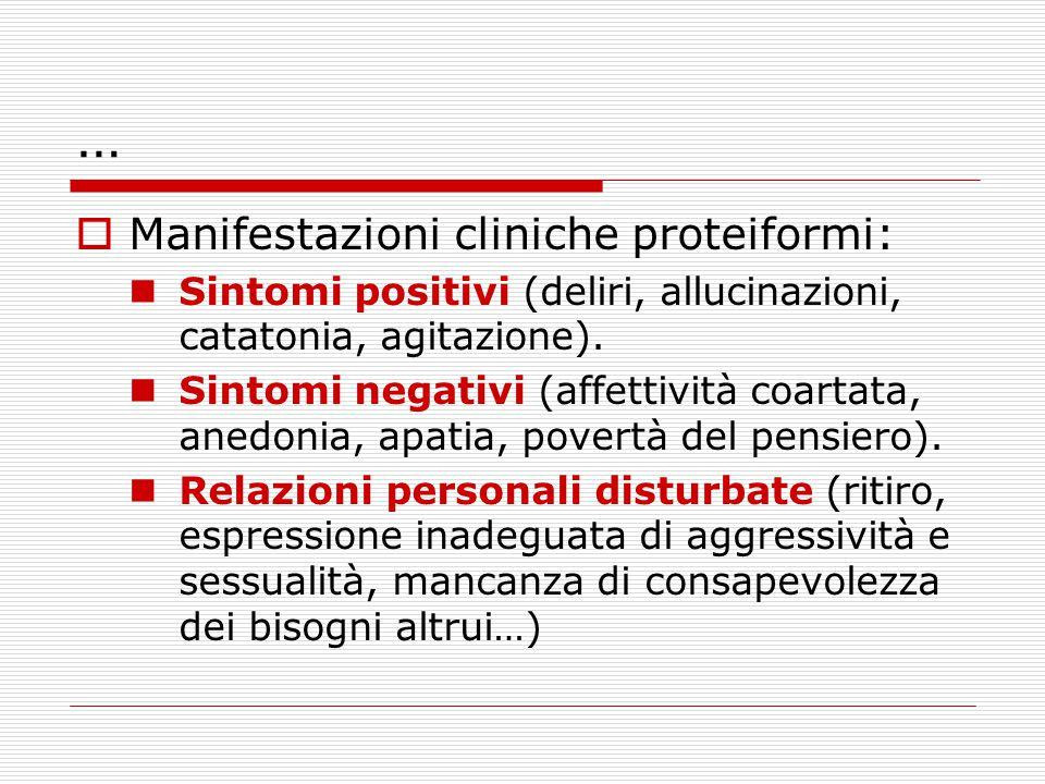 …  Manifestazioni cliniche proteiformi: Sintomi positivi (deliri, allucinazioni, catatonia, agitazione). Sintomi negativi (affettività coartata, aned