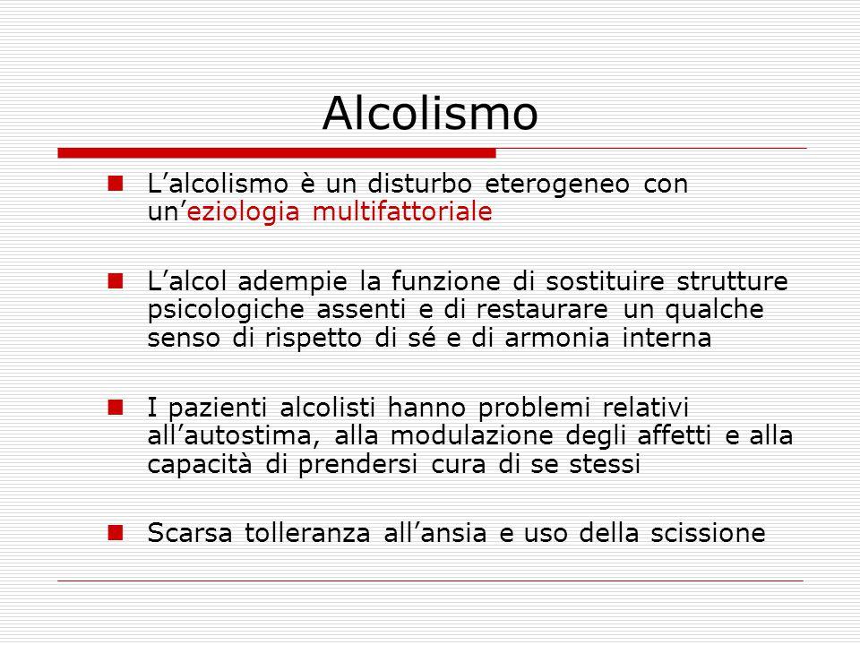 Alcolismo L'alcolismo è un disturbo eterogeneo con un'eziologia multifattoriale L'alcol adempie la funzione di sostituire strutture psicologiche assen