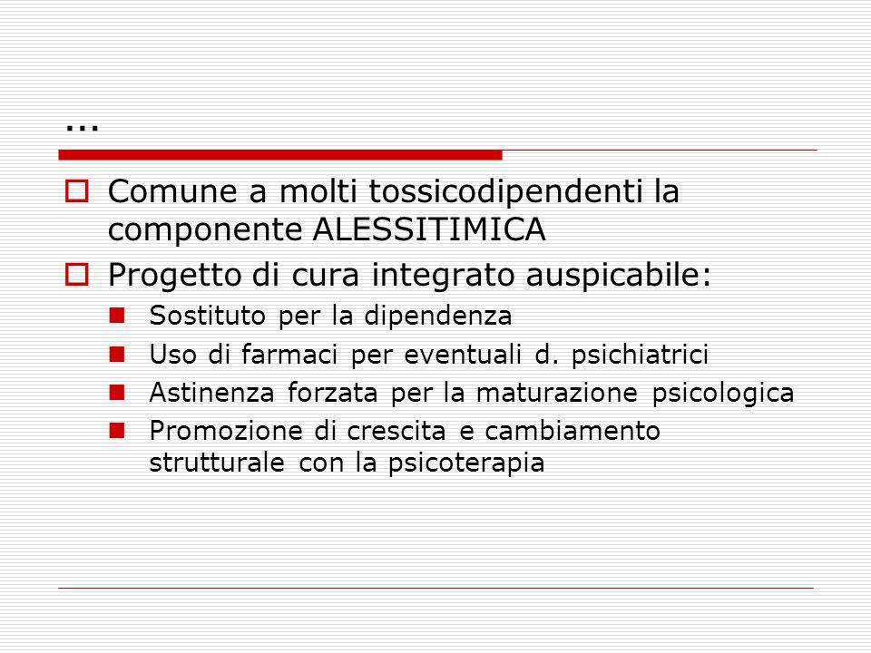…  Comune a molti tossicodipendenti la componente ALESSITIMICA  Progetto di cura integrato auspicabile: Sostituto per la dipendenza Uso di farmaci per eventuali d.