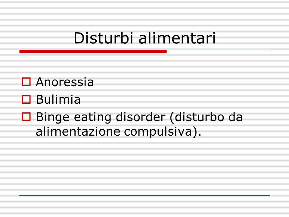 Disturbi alimentari  Anoressia  Bulimia  Binge eating disorder (disturbo da alimentazione compulsiva).