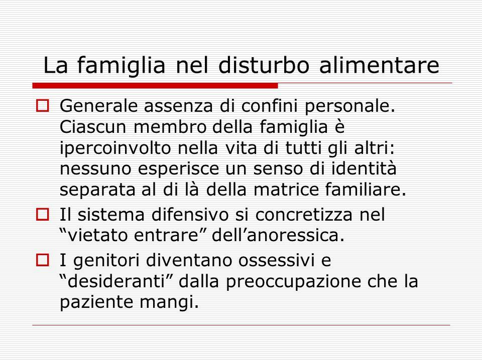 La famiglia nel disturbo alimentare  Generale assenza di confini personale.