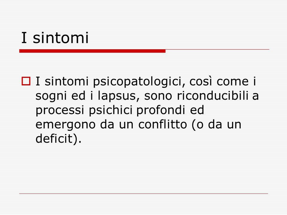 I sintomi  I sintomi psicopatologici, così come i sogni ed i lapsus, sono riconducibili a processi psichici profondi ed emergono da un conflitto (o da un deficit).
