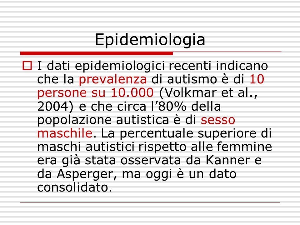 Epidemiologia  I dati epidemiologici recenti indicano che la prevalenza di autismo è di 10 persone su 10.000 (Volkmar et al., 2004) e che circa l'80% della popolazione autistica è di sesso maschile.