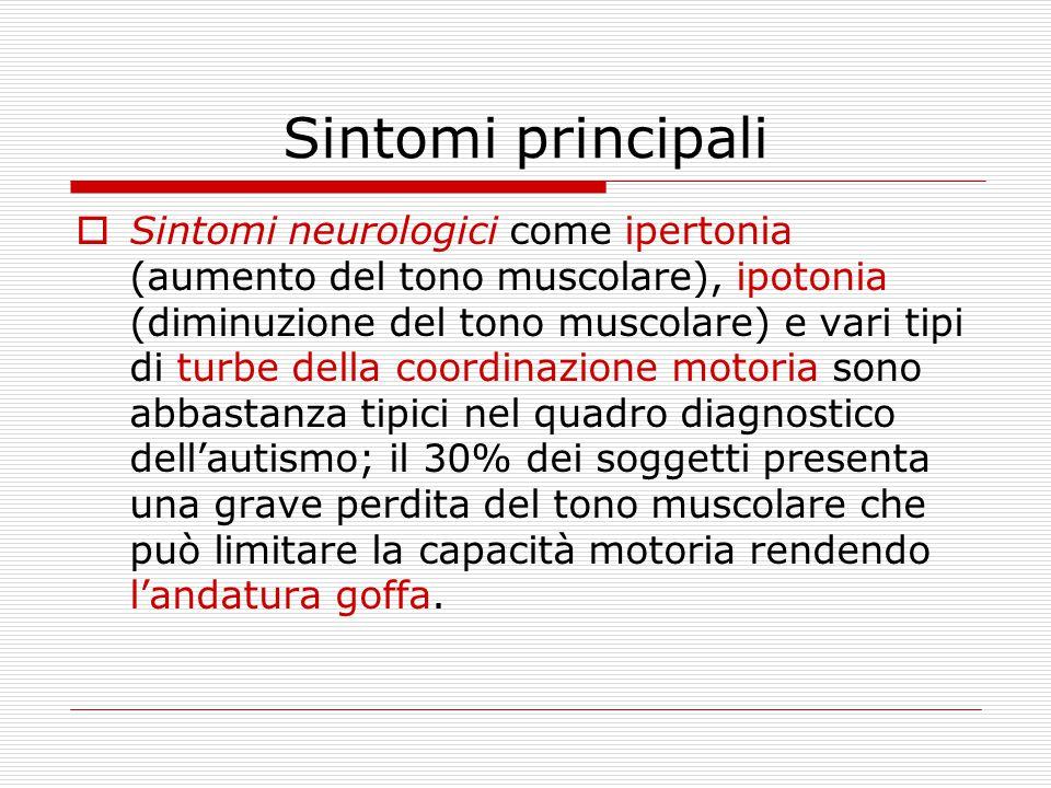 Sintomi principali  Sintomi neurologici come ipertonia (aumento del tono muscolare), ipotonia (diminuzione del tono muscolare) e vari tipi di turbe d
