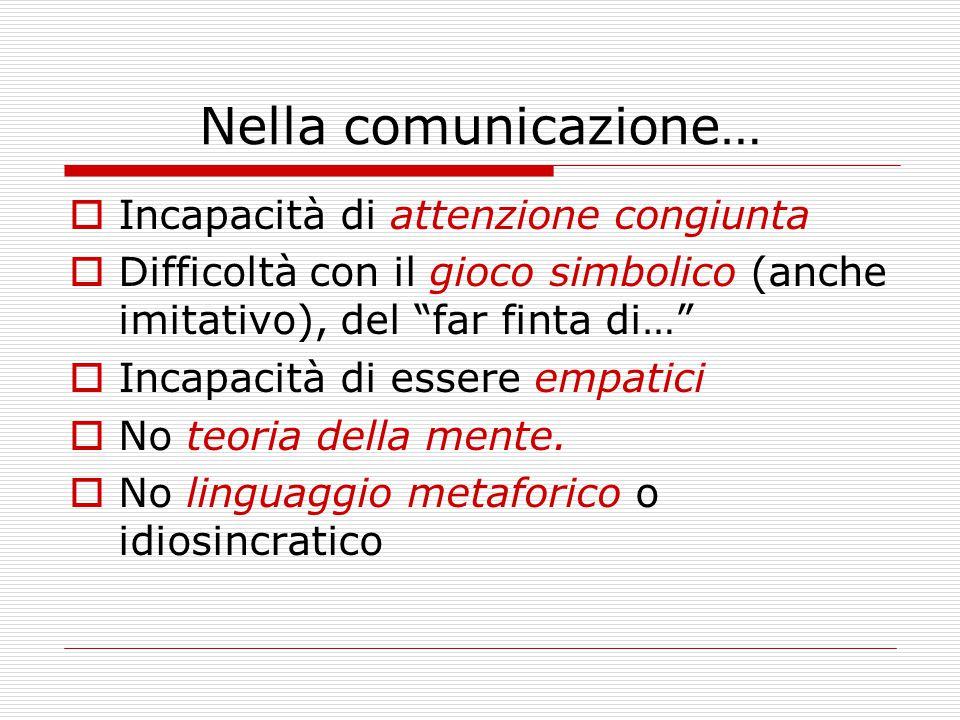 Nella comunicazione…  Incapacità di attenzione congiunta  Difficoltà con il gioco simbolico (anche imitativo), del far finta di…  Incapacità di essere empatici  No teoria della mente.